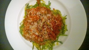 Homemade meat sauce over zoodles, with bonus Pecorino!